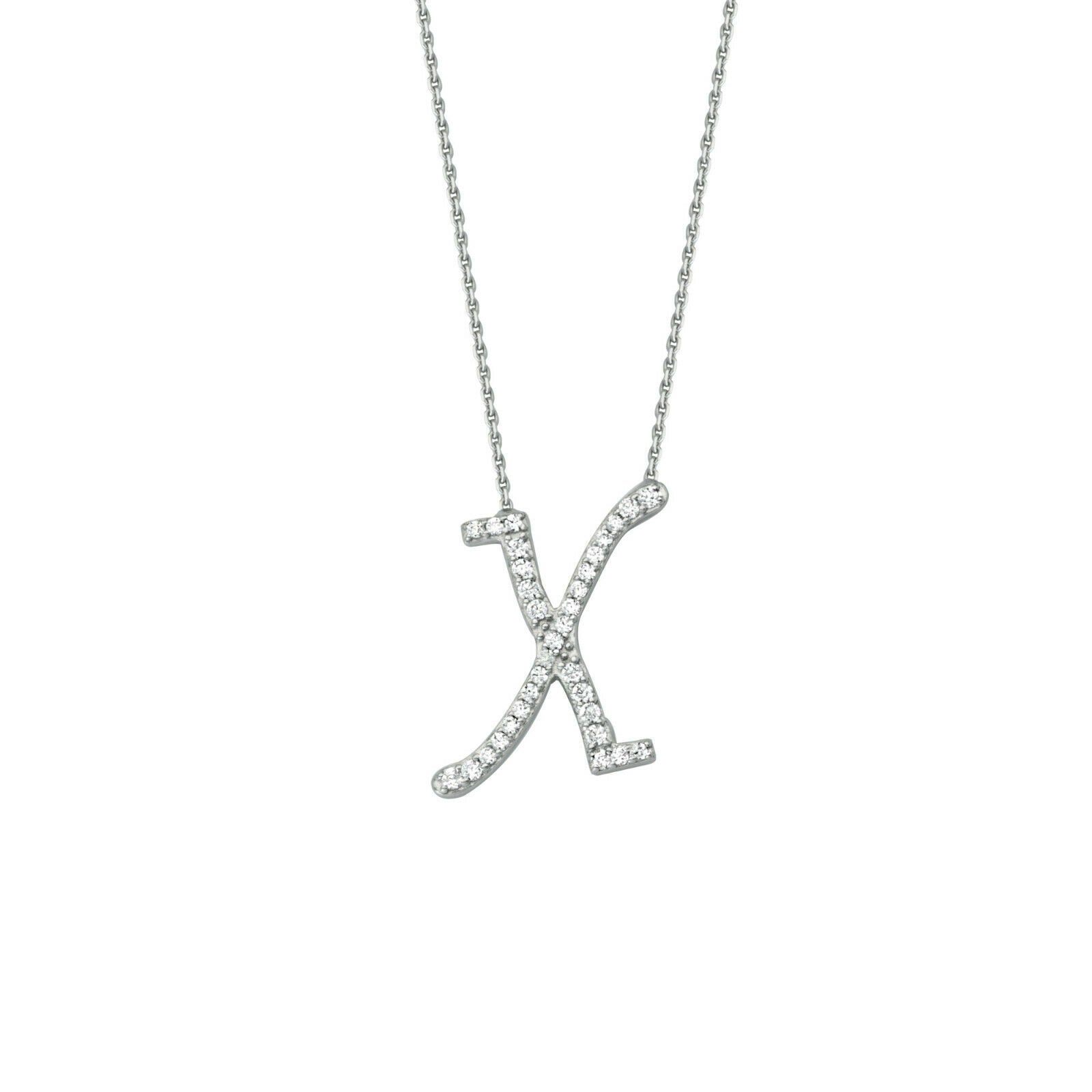 "925 Sterling Silver CZ Initial Letter X Necklace Adjustable 16""-18"" All Letter"