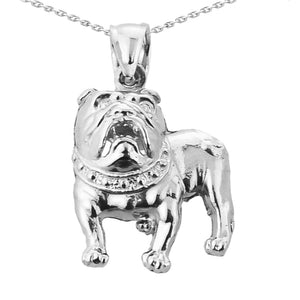 "925 Sterling Silver Bulldog Pendant Necklace Charm Made in US 16"" 18"" 20"" 22"""