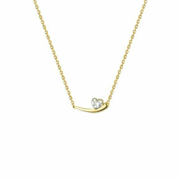 "14K Solid Gold Two Tone Heart Apostrophe Necklace 16""-18"" adjustable"
