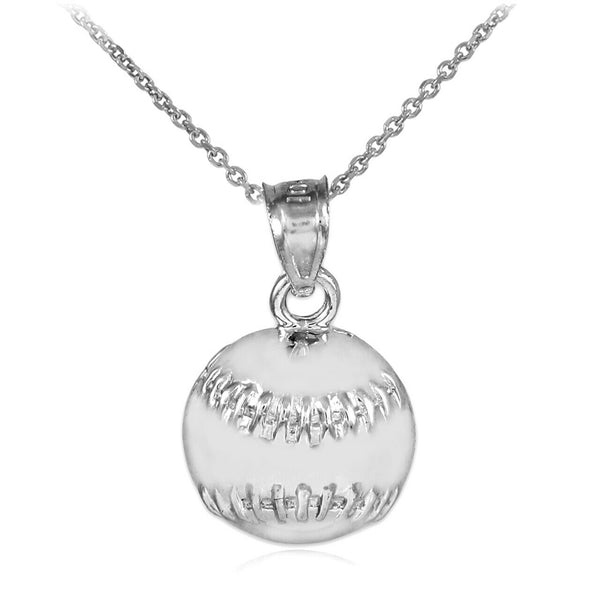 925 Silver Sterling Baseball/Softball Charm Sports Pendant Necklace Made in USA