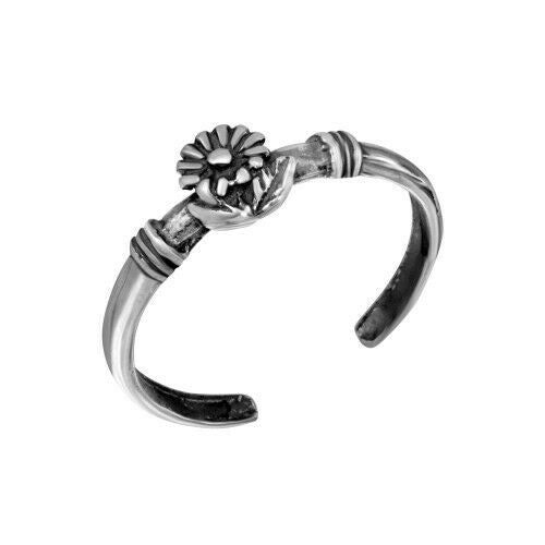 Fine 925 Sterling Silver Flower Curl Adjustable Toe Ring / Finger Ring Oxidized