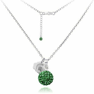 Michigan State University Crystal Ball Sphere Necklace -Fine Silver Licensed MSU