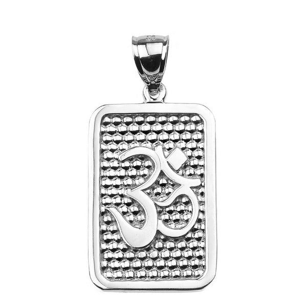 925 Sterling Silver OM / OHM Engravable Meditation Pendant Necklace Made in US