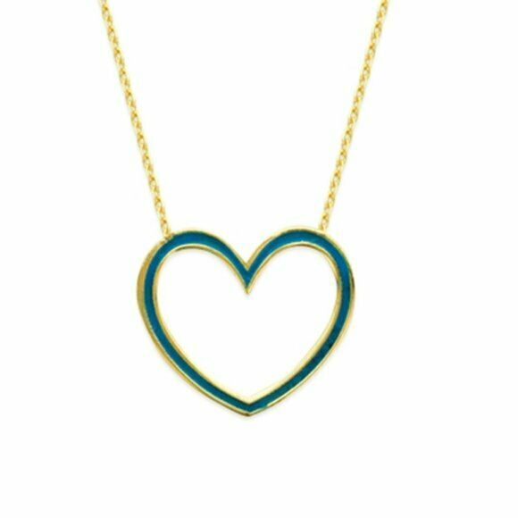 "14K Solid Yellow Gold Heart Blue Enamel Open Adjustable Necklace 16""-18"""