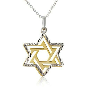 "925 Sterling Silver Star Of David Pendant Necklace 16""-18"" Adjust 2 tone Pendant"