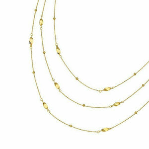 "14K Solid Gold 3 Layer Twist Station Chain Necklace 17"" Adjustable Yellow"