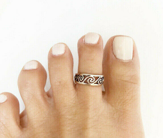 NWT .925 Sterling Silver Open Wave Adjustable Toe Ring / Finger Ring