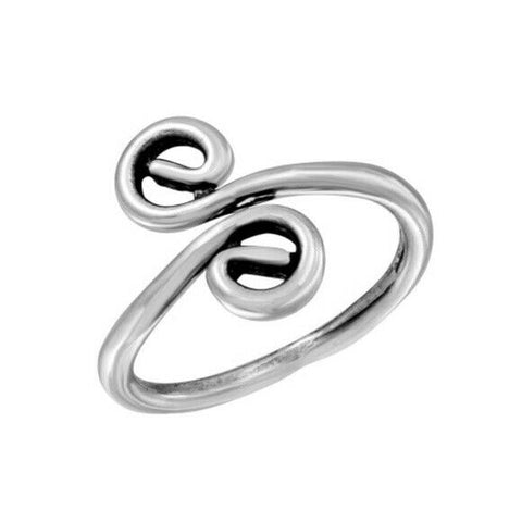 925 Sterling Silver S Curl Oxidized Adjustable Toe Ring / Finger Thumb Ring