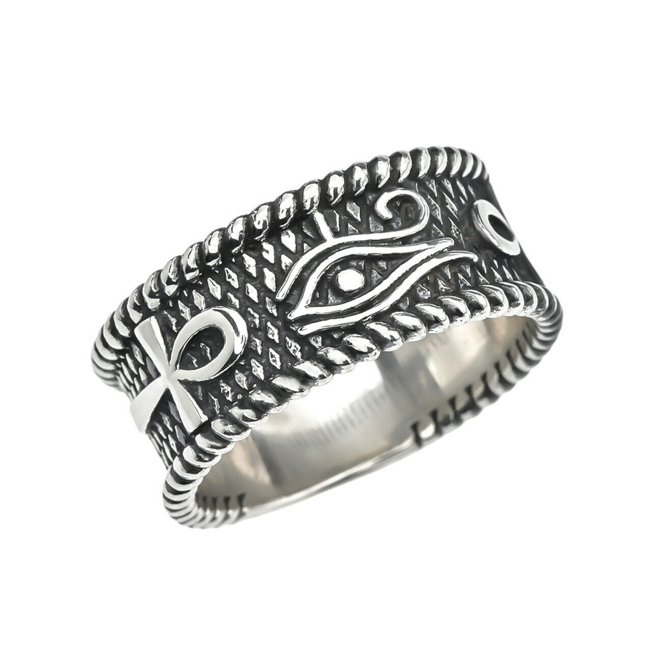 Eye of Horus with Egyptian Ankh Crosses 925 Sterling Silver Unisex Ring Any Size
