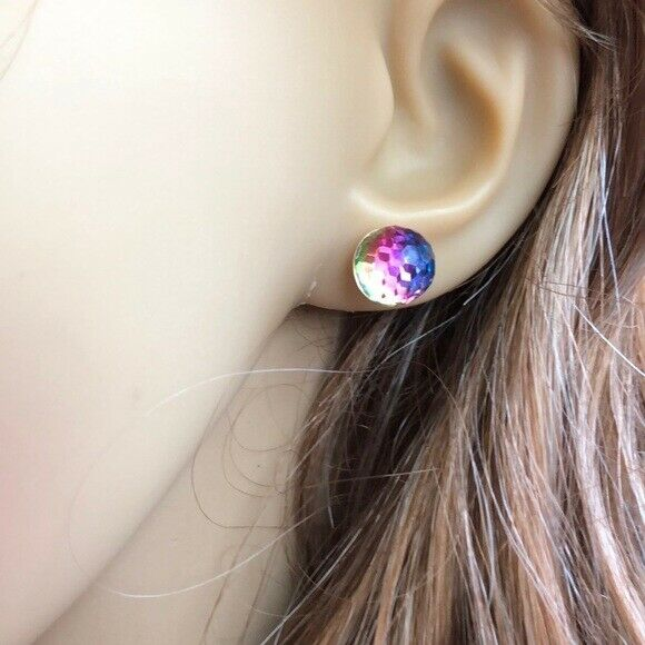14K Solid Yellow Gold Multi-color Round ball Stud Earrings