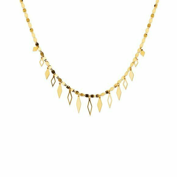 "14K Solid Gold Valentino Chain Dangle Drop Rhombus Necklace Adjust 18""-20"""