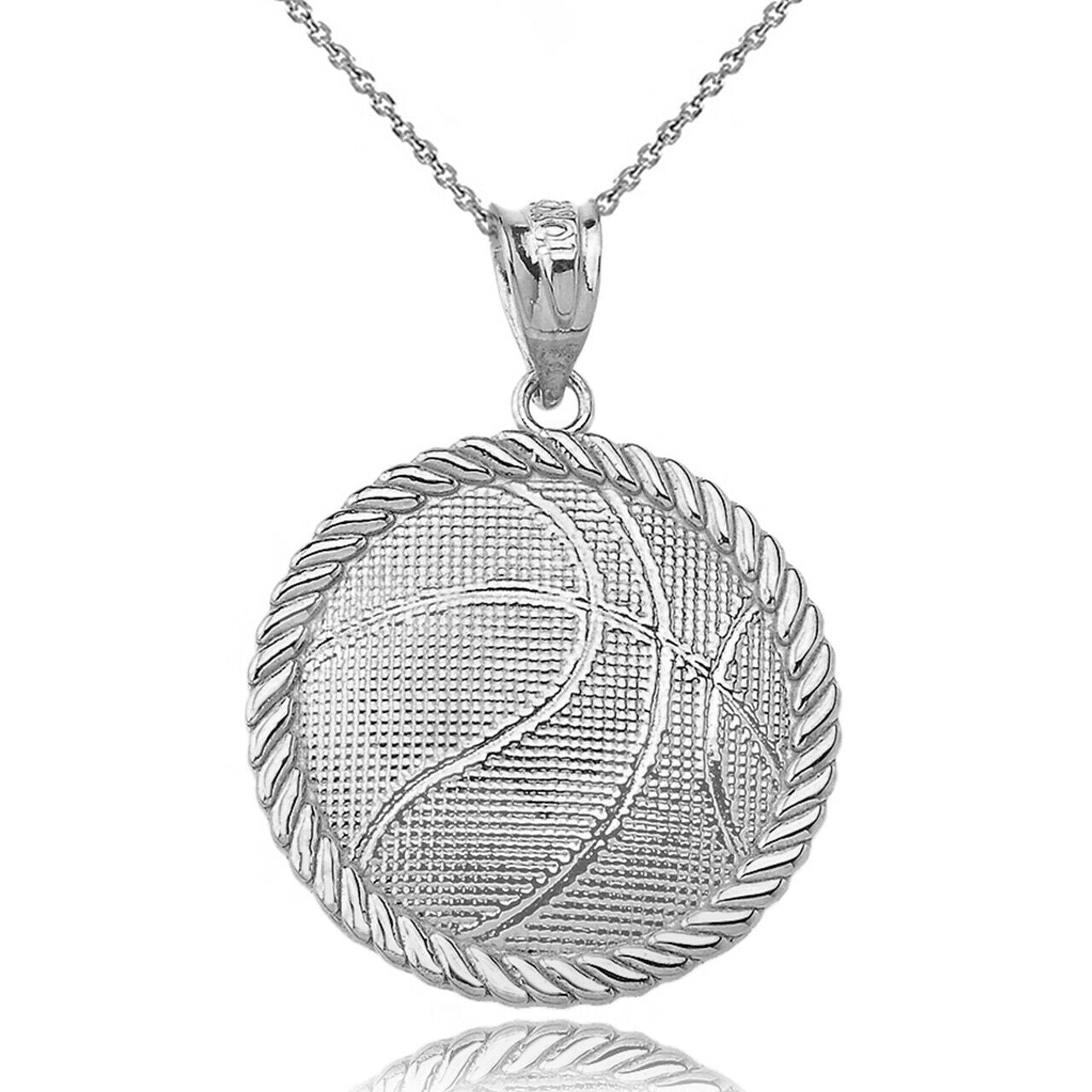 925 925 Sterling Silver Sport Basketball Pendant Necklace - Made In USA