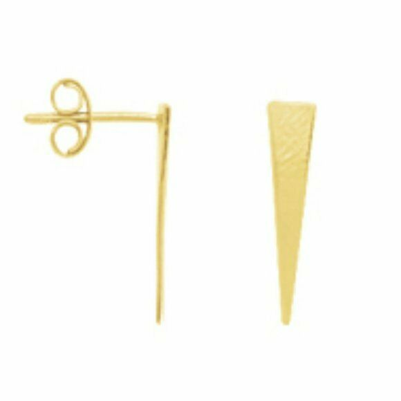 14K Solid Yellow Gold Draw The Line Jagger Stud Triangle Geometric Earrings -