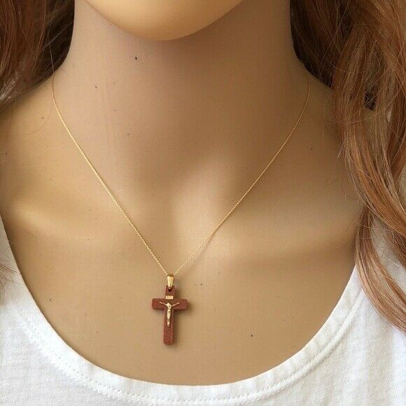 14K Solid Gold Mini Jesus Crucifix Small Cross Dainty Necklace -Minimalist
