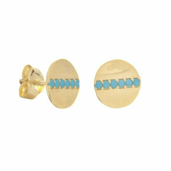 14K Solid Yellow Gold Round Disk /Dics Nano Turquoise Stud Earrings -