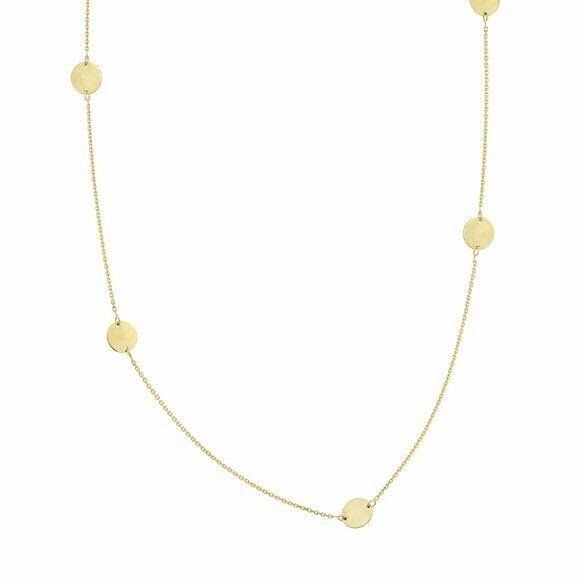 "14K Solid Gold 6 Piece Disk/Dics Station Necklace - 16""-18"" adjustable -Yellow"