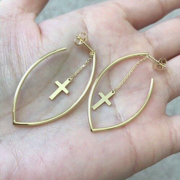 14K Solid Yellow Gold Dangle Cross Marquise Shape Hoop Post Earrings -