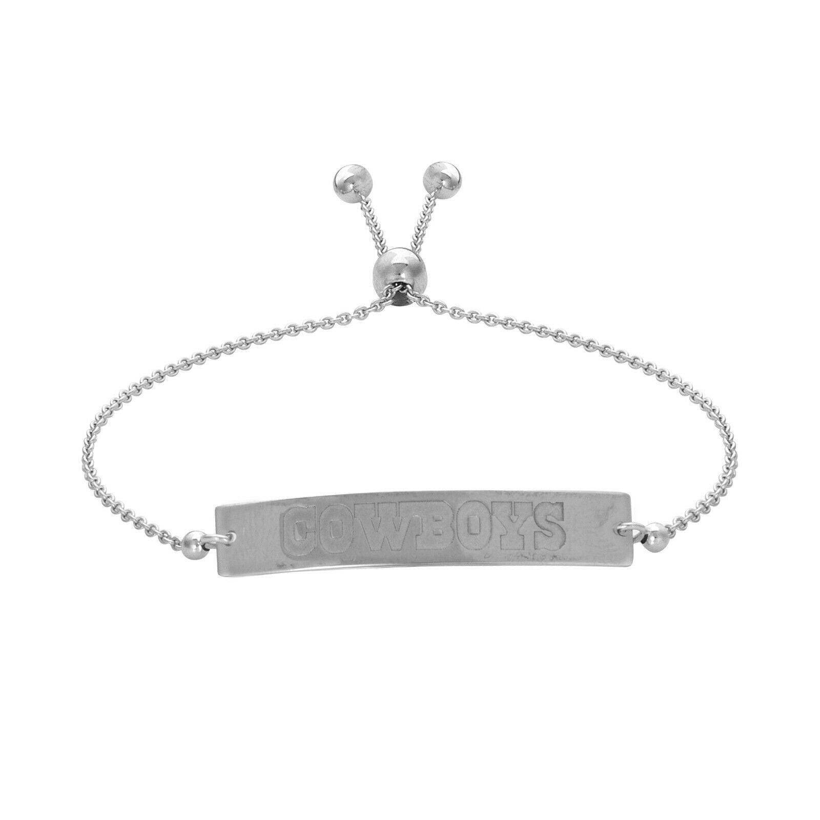 Dallas Cowboys Engraved Bar Sterling Silver Bracelet -Official Licensed NFL