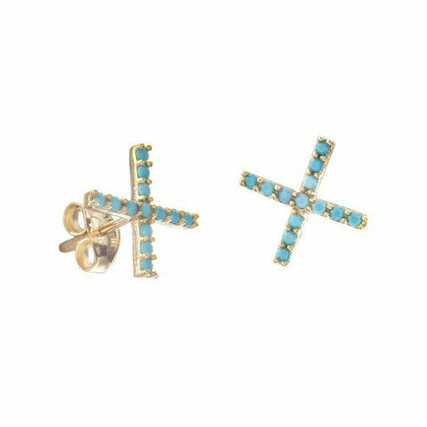 14K Solid Yellow Gold X Stud Nano Turquoise Earrings -
