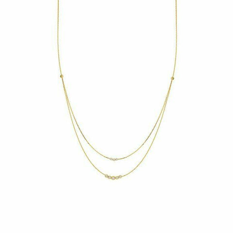 "14K Solid Yellow Gold Diamond Layer Double Strand Necklace Adjustable 16""-18"""