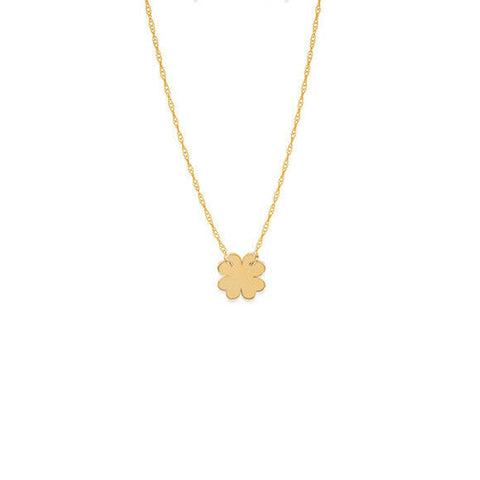 "14K Solid Yellow Gold Mini Clover Cut Out Dainty Necklace - Minimalist 16""-18"""