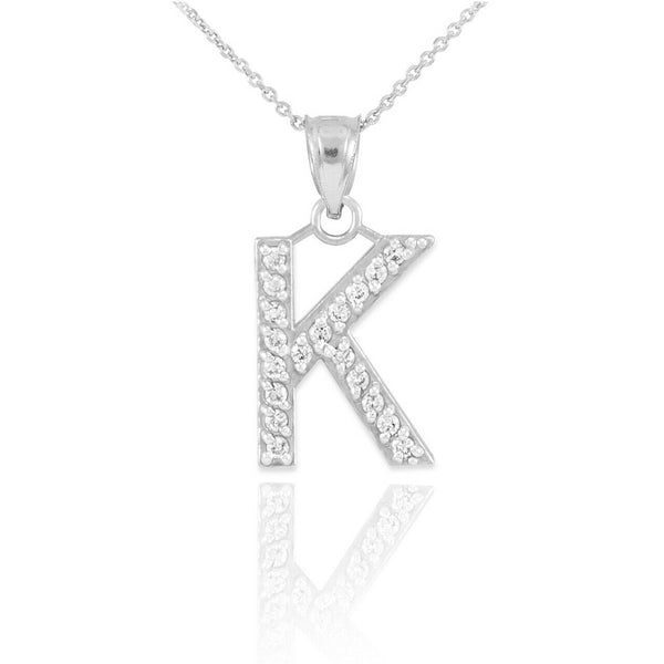 "925 Sterling Silver Letter ""K"" Initial CZ Monogram Pendant Necklace 16 18 20 22"""
