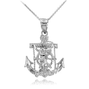 925 Sterling Silver Mariner Crucifix Anchor St. Clement's Cross Pendant Necklace