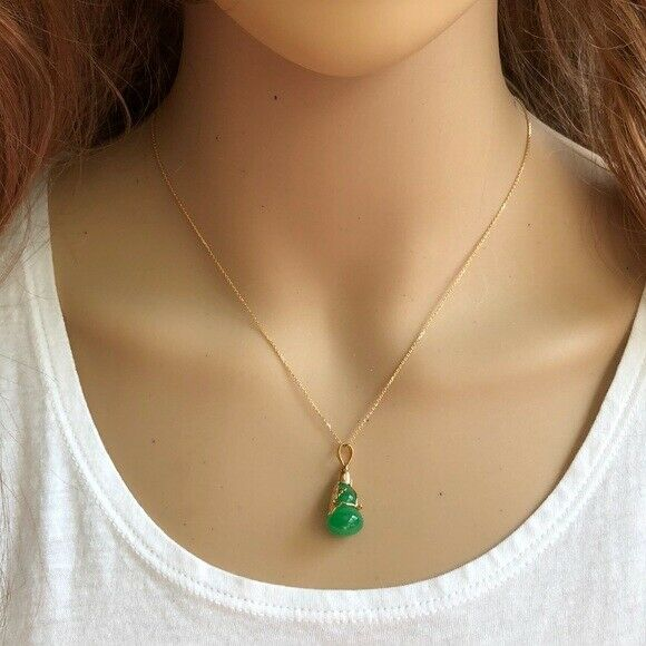 14K Solid Gold Sm Green Jade Gourd Bottle Eagle Pendant /Charm Dainty Necklace
