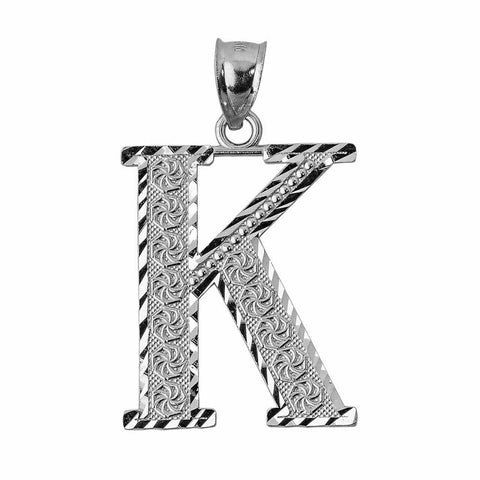 925 Sterling Silver Initial Letter K  Pendant Necklace - Large, Medium, Small DC