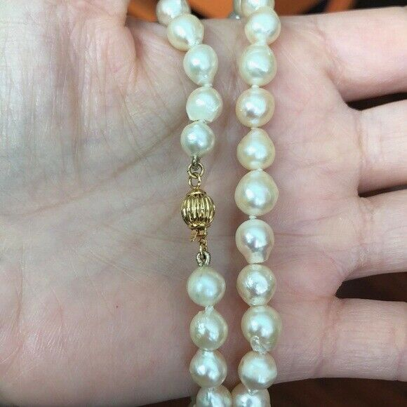 Pearl Necklace 18 inches 6 mm with 14K Solid Gold Clasp