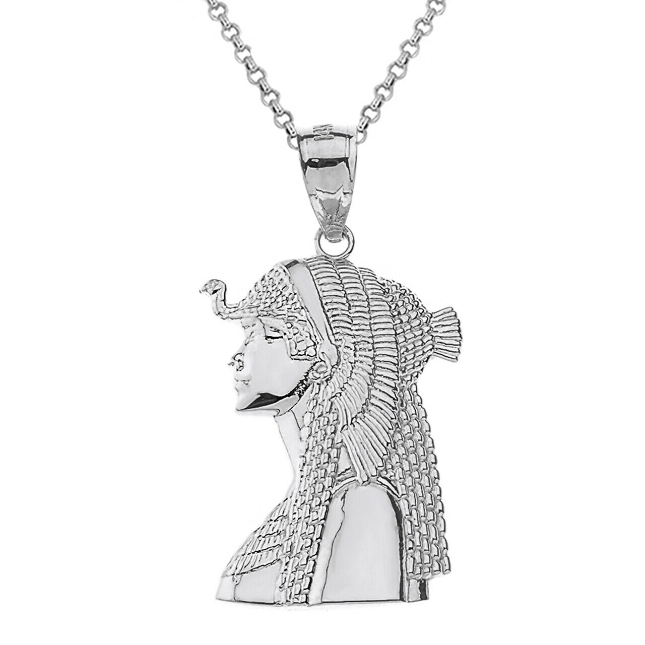 "925 Sterling Silver Egyptian Queen Cleopatra Crown Pendant Necklace 16""-22"""