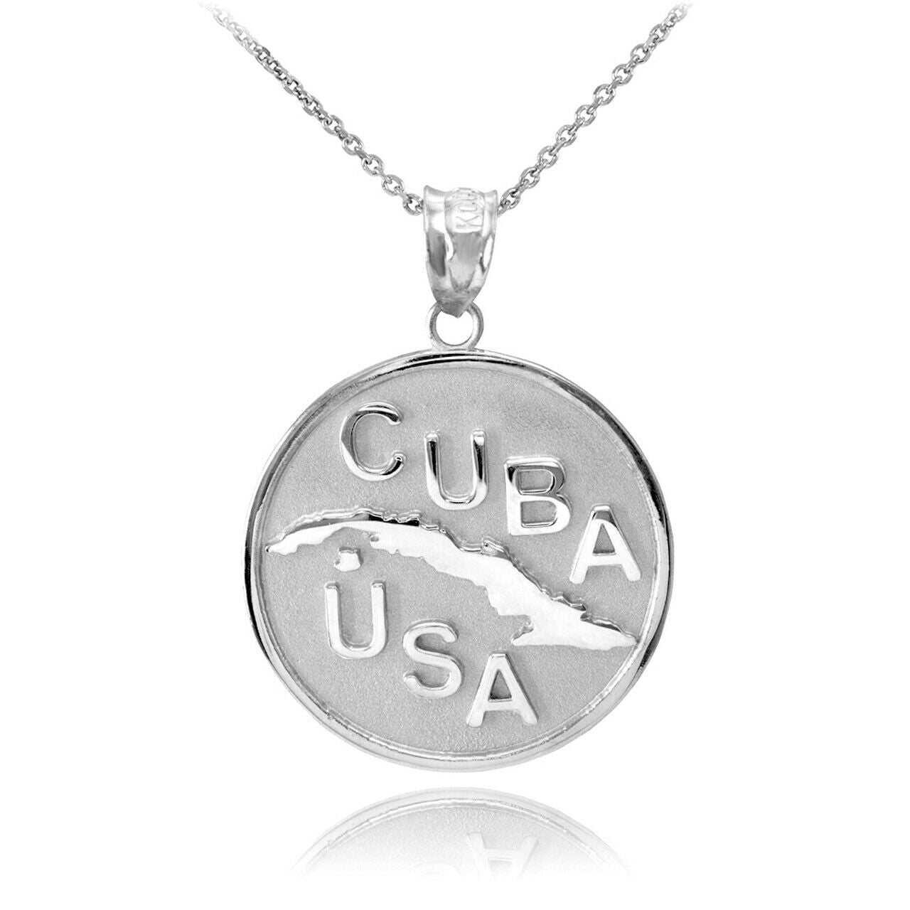 "925 Sterling Silver CUBA-USA Medallion Pendant Necklace 16"" 18"" 20"" 22"""