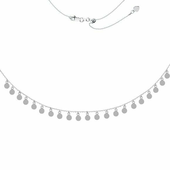 Sterling Silver 925 Fashion 4mm Disk Dangle Drop Adjustable Choker Necklace