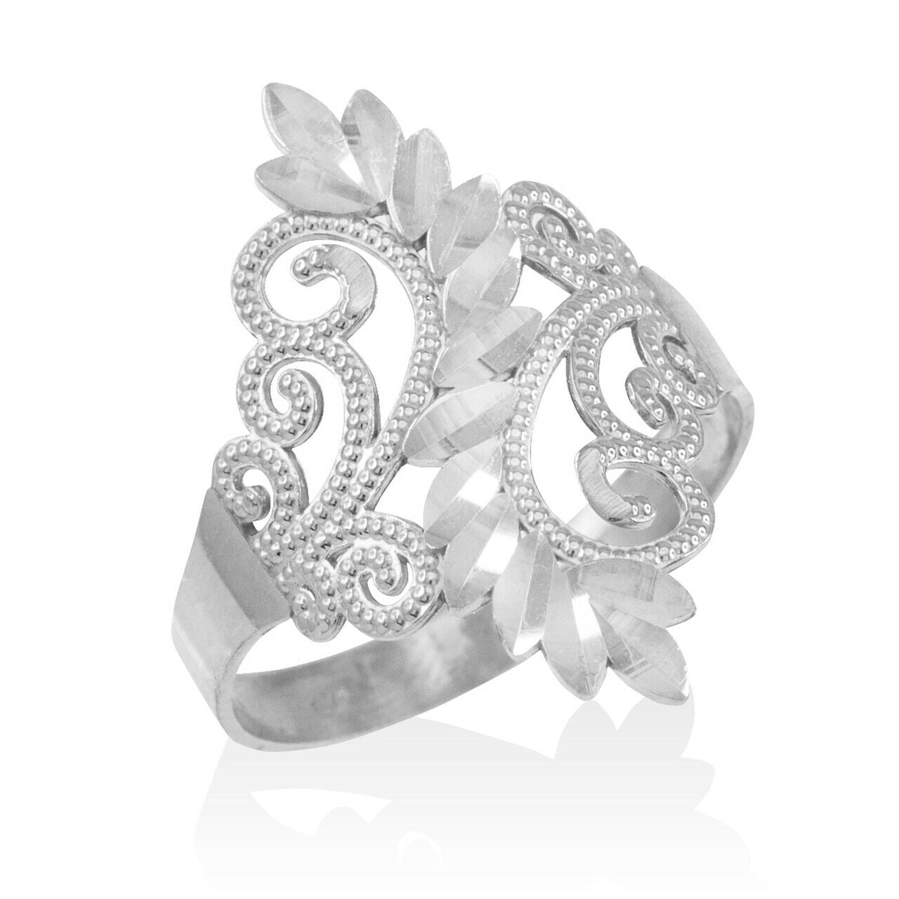 925 Sterling Silver Filigree Diamond Cut Ring - Any/All Sizes Made in USA