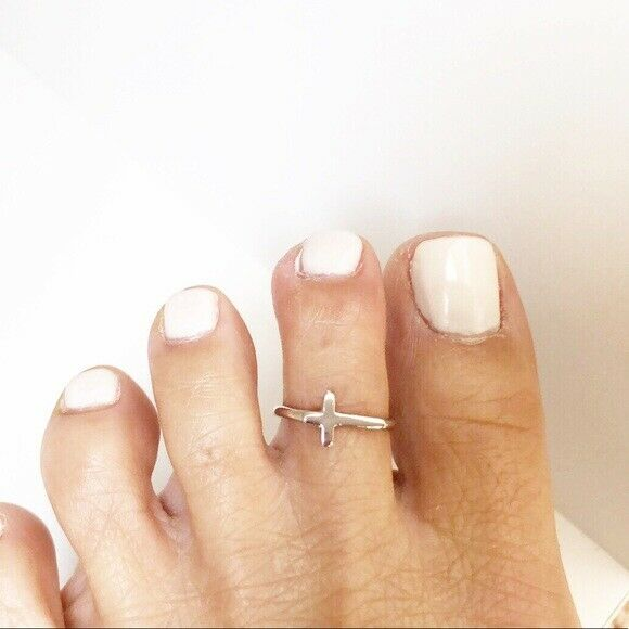 NWT .925 Sterling Silver Mini Cross Rhodium Adjustable Toe Ring / Finger Ring