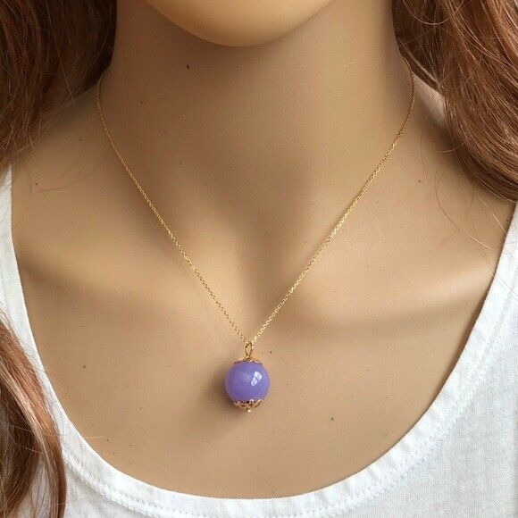 "14K Solid Gold Round Ball Purple Pendant / Charm Dainty Necklace 16""-18"""