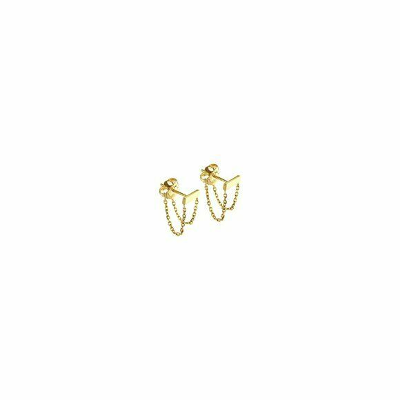 14K Solid Yellow Gold Double Front To Back Bar Dainty Earrings - Minimalist