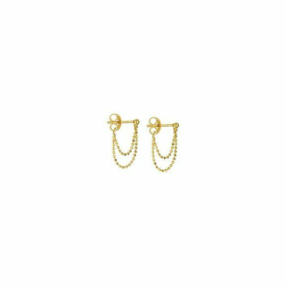 14K Solid Yellow Gold Double Front To Back Dainty Stud Earrings - Minimalist