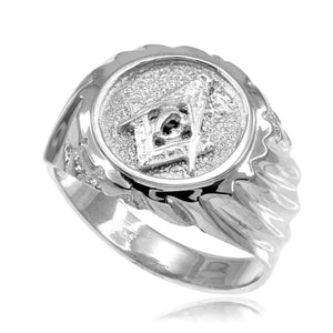 925 Solid Sterling Silver Masonic Men's Ring Any /All Size Made in USA
