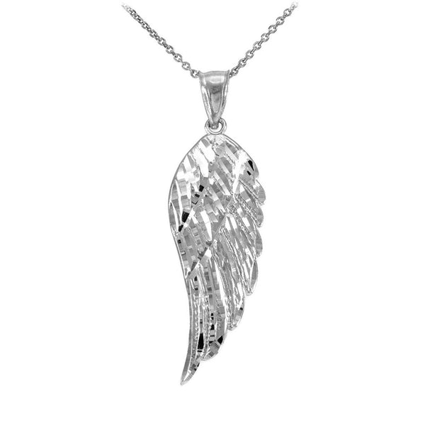 "Real Sterling Silver Angel Wing Pendant Necklace 16"", 18"", 20"", 22"" Made in USA"