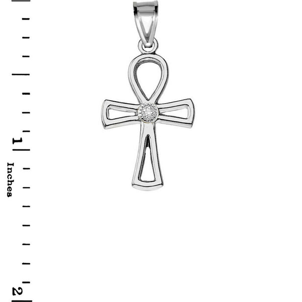 925 Sterling Silver CZ Ancient Egyptian Ankh Cross Openwork Pendant Necklace
