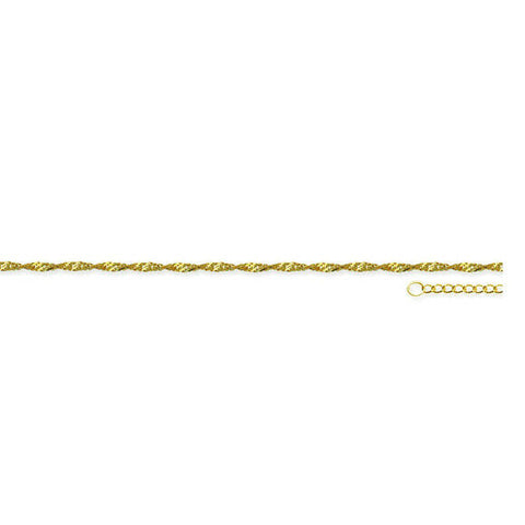 "14K Solid Gold Twist Singapore Chain Anklet - Yellow 9""-10"" Adjustable"