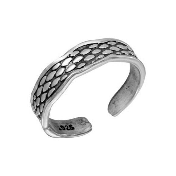 NWT Sterling Silver 925 Snake Scale Design Toe Ring or Finger Ring Adjustable