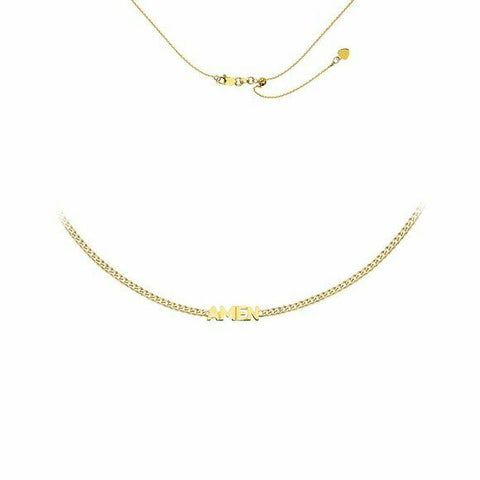 "14K Solid Yellow Gold Block Script ""Amen"" Plate Choker Adjustable Necklace"