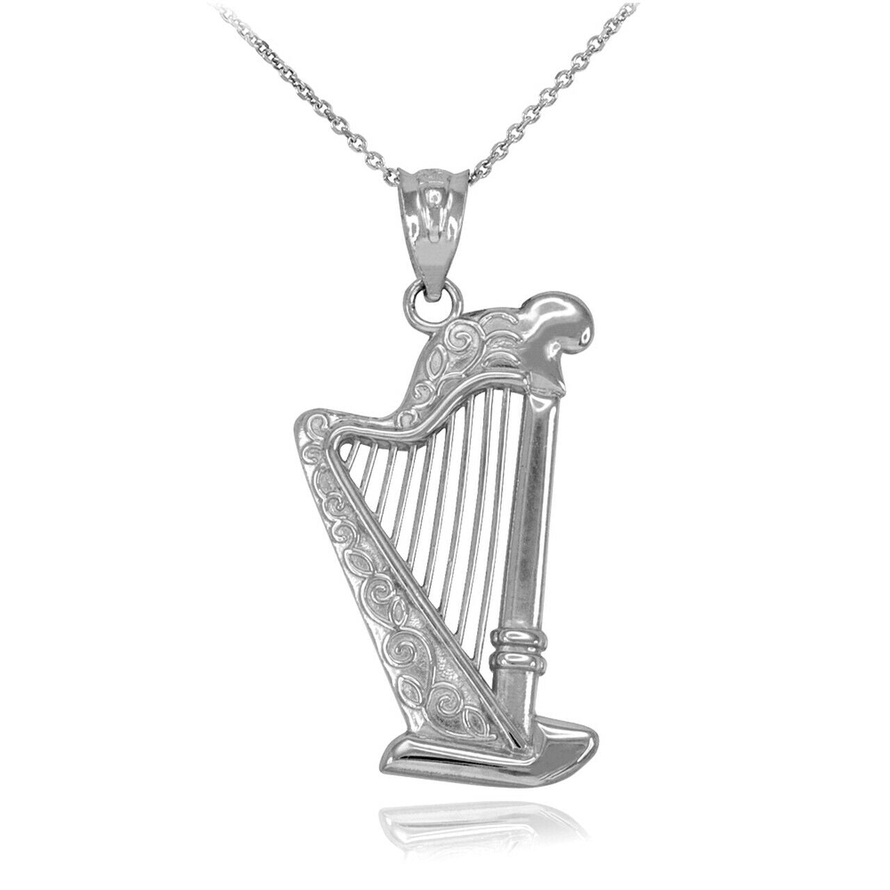 Sterling Silver Music Modern Pedal Harp Harmonic Organ Strings Pendant Necklace