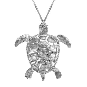 925 Silver Vertical Textured Lucky Hawaiian Honu Sea Turtle Pendant Necklace