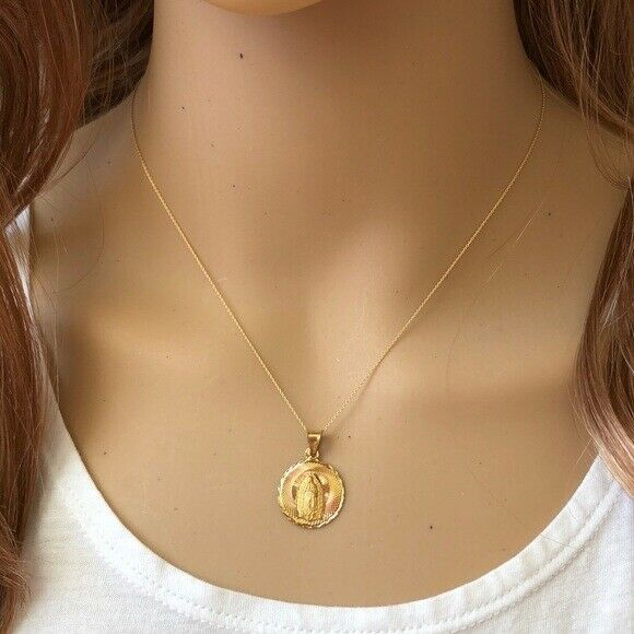 14K Solid Gold Virgin Mary Mother of Jesus Pendant Dainty Necklace -Minimalist
