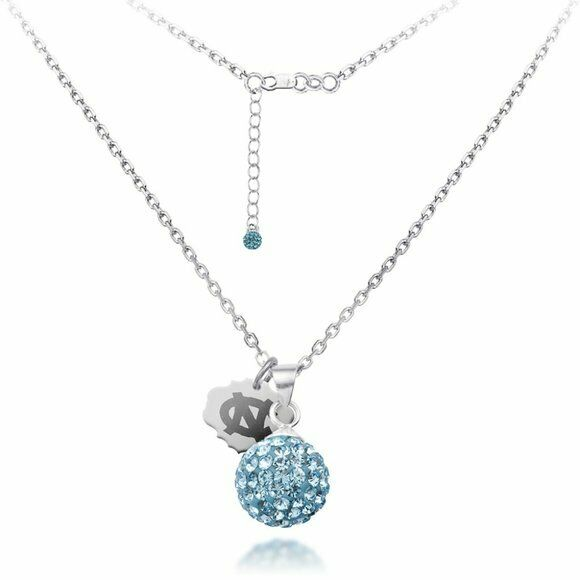 UNC University of North Carolina Ball Crystal Necklace - Fine Silver Licensed