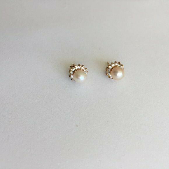 Small 14K Solid Yellow Gold Pearl CZ Stud Earrings
