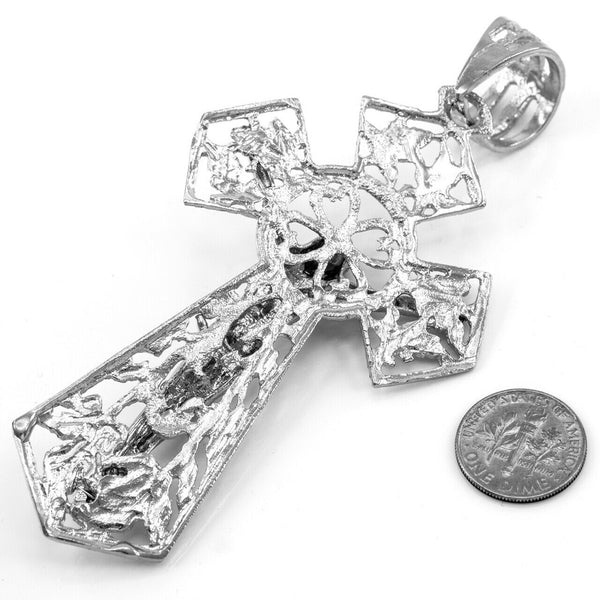 Sterling Silver Jesus Crucifix Cross Extra Large Pendant Made in USA 24.70 G 4""